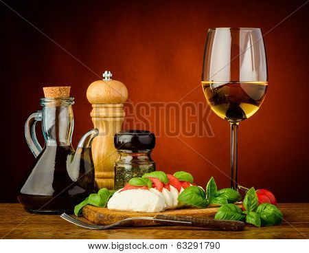 Caprese Salad And White Wine