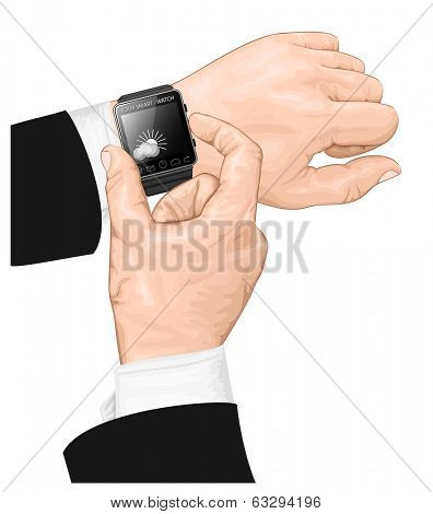 Vector illustration of smart watch gesture. Spot colors only.