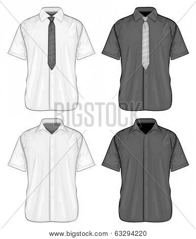 Vector illustration of short sleeve dress shirts (button-down) with and without neckties. Front view.