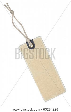 Vintage label with string isolated on the white background, clipping path included.