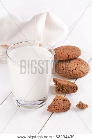 Milk In A Glass And Oatmeal Cookies