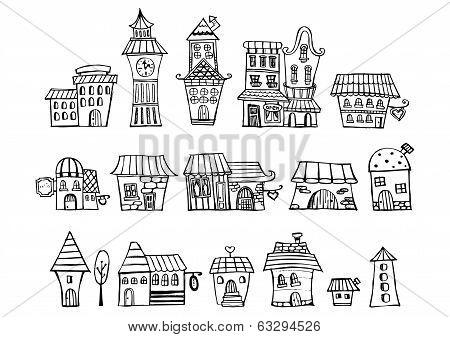 Cartoon vector fairy tale drawing houses