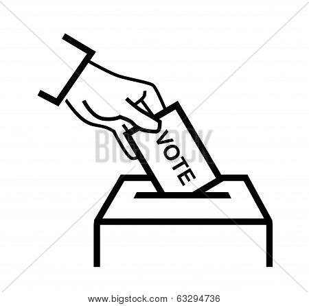 hand putting a voting ballot