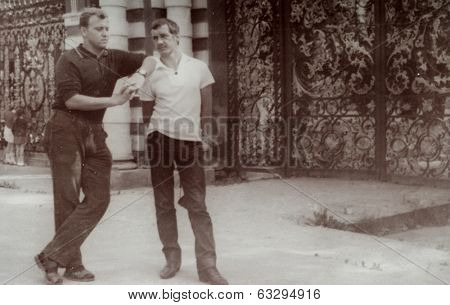 RUSSIA, CIRCA 1970's: Vintage photo of two young men
