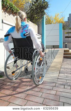 Woman In A Wheelchair On A Wheelchair Ramp