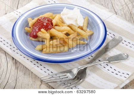 French Fries Red And White On A Plate