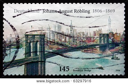 Postage Stamp Germany 2006 Brooklyn Bridge, By John Augustus Roe