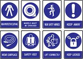 stock photo of industrial safety  - Mandatory signs Construction health and safety sign used in industrial applications - JPG