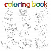 Set Of Nine Playful Kittens For Coloring Book