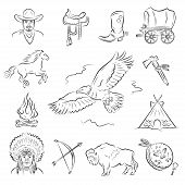 picture of western saddle  - Western Icons Set - JPG