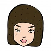 cartoon annoyed female face