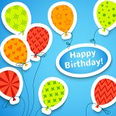 stock photo of applique  - Happy birthday colorful applique background - JPG