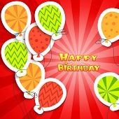 foto of applique  - Happy birthday colorful applique background - JPG