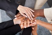 pic of fellowship  - High Angle View Of Multiracial Businesspeople Stacking Hands Over Each Other - JPG
