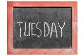 picture of tuesday  - Tuesday word handwritten on isolated vintage blackboard - JPG