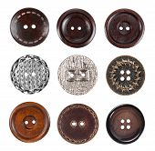Vintage metal sewing buttons, isolated