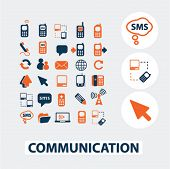 communication flat icons, elements: vector design collection