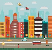 stock photo of suburban city  - Illustration of Big City street in bright colors - JPG