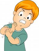 pic of itchy  - Illustration of a Little Kid Furiously Scratching His Itchy Arm - JPG