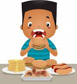 picture of bing  - Illustration of a Little Boy Going on an Eating Binge - JPG