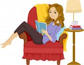 foto of recliner  - Illustration of a Girl Reading a Book While Reclining on a Chair - JPG
