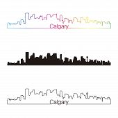 Calgary Skyline Linear Style With Rainbow
