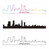 Shenzhen Skyline Linear Style With Rainbow