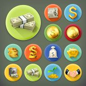 stock photo of piggy  - Money and coins - JPG