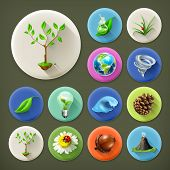 Nature and Ecology, long shadow icon set