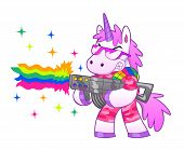 stock photo of unicorn  - Military pink unicorn shoots a battle rainbow - JPG