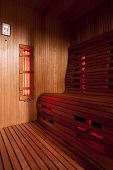 stock photo of sauna  - luxurious domestic Infrared finnish wooden sauna cabin - JPG