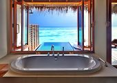 stock photo of indian blue  - Luxury beautiful interior design on beach resort - JPG