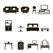Furniture Icons and Symbols  Isolated Silhouette Set Vector Illustration