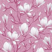 Retro flower seamless pattern - magnolia. Vector. Easy to edit.