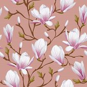 picture of magnolia  - Retro flower seamless pattern  - JPG