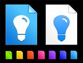 Light bulb Icons on Colorful Paper Document Collection