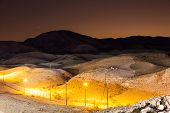 picture of billion  - Night landscape of desert mountains near Dead Sea with a lot of star in the sky - JPG