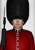 stock photo of beefeater  - 3D digital render of a royal British guardsman holding a rifle - JPG