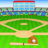 stock photo of baseball bat  - vector illustration of baseball field with bat - JPG