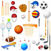picture of cricket bat  - vector illustration of collection of different sports object - JPG