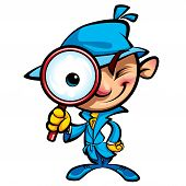 stock photo of private investigator  - Cartoon smart detective in investigation with blue coat looking through big magnifying glass smiling and closing one eye - JPG