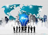 Business people silhouettes and light bulb as inspiration concept with drawing chart and graphs busi