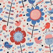 Romantic floral seamless pattern with cute small birds in flowers. Vector spring background in retro