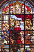 Baby Jesus John Mary Stained Glass Basilica Cathedral Andalusia Granada Spain
