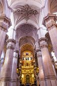 Basilica Stone Columns Stained Glass Baptismal Fount Cathedral Andalusia Granada Spain