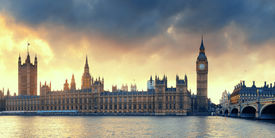 picture of victorian houses  - House of Parliament sunset panorama in Westminster in London - JPG