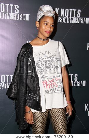 LOS ANGELES - OCT 3:  Kilo Kish at the Knott's Scary Farm Celebrity VIP Opening  at Knott's Berry Farm on October 3, 2014 in Buena Park, CA