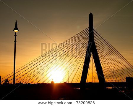 Zakim Bunker Hill Bridge Sunset Silhouette