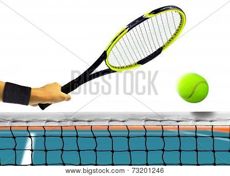 Hitting Tennis Ball In Front Of The Net Over White