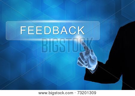Business Hand Pushing Feedback Button